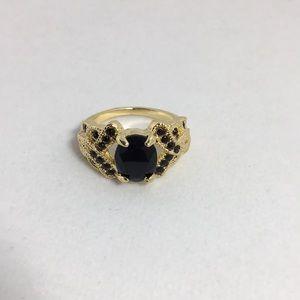 Black Stone Gold Ring Size 7.5